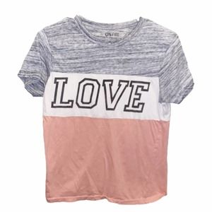 🌻One Fire LOVE Tee Gray Pink White Size Large